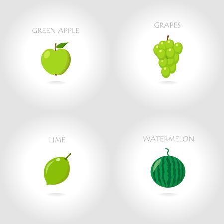 Groene appeldruiven kalk watermeloen vector illustratie
