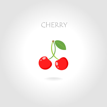 tittle: fresh cherry vector illustration with text tittle Illustration