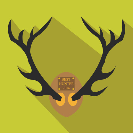 horny: Deer antlers. Horns icon in flat style with long shadow. Vector silhouette.Hunting season.