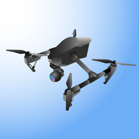 aerospace: Realistic remote air drone quad-copter with camera. Vector illustration.
