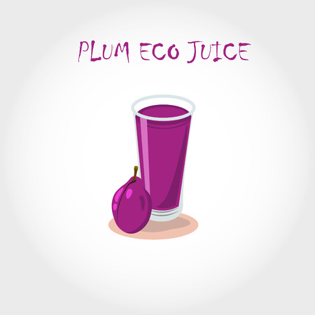 tubule: glass of bio fresh plum juice. Vector illustration.Text title.