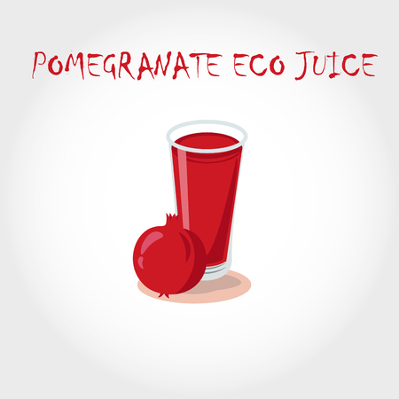 pomegranate juice: glass of bio fresh pomegranate juice. Vector illustration. Text title.