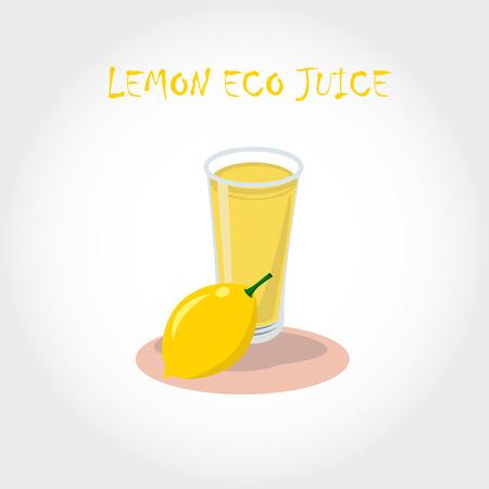 lemon juice: glass of bio fresh lemon juice. Vector illustration. Text title.