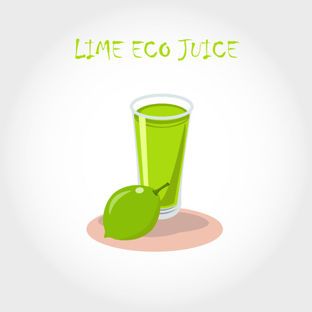 lime juice: glass of bio fresh lime juice. Vector illustration. Text title. Illustration