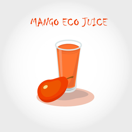 mango juice: glass of bio fresh mango juice. Vector illustration. Text title. Illustration