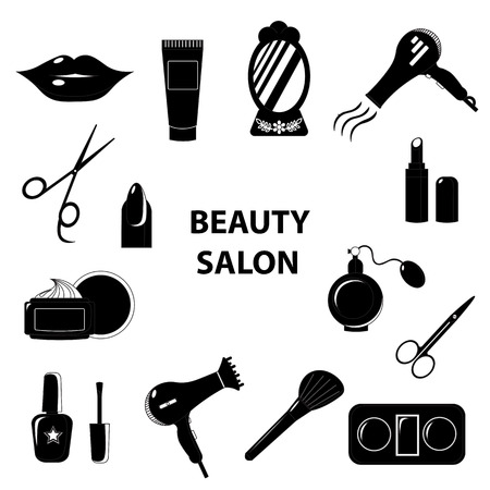 clipper: Beauty salon. Set of black line icons. Business. Vector illustration.
