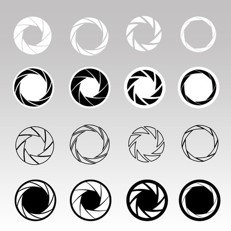 Set of black camera shutter icons on abstract background. Vector illustration
