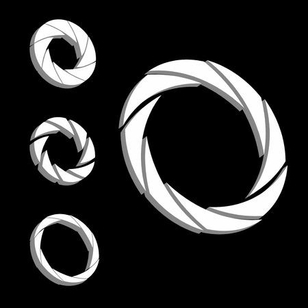 shutter aperture: Shutter, Aperture color and white wheel. 3D logo. Isometric