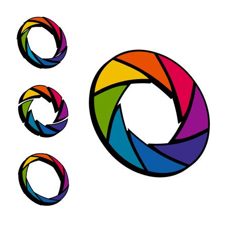 Shutter, Aperture color and white wheel. 3D logo. Isometric