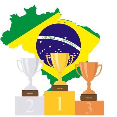 Podium. Cups. Medals. Brazil. Pedestal. Summer. Cartoon.
