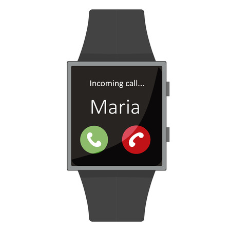 maria: Smart Watch. Maria Calling. Cartoon style. Flat element. Vector illustration.