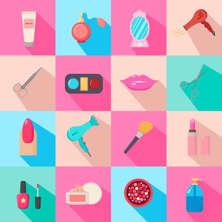salon background: Beauty salon. Set of cartoon icons. Colorful background. New business. Vector illustration.