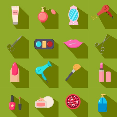 salon background: Beauty salon. Set of cartoon icons. Green background. New business. Vector illustration.