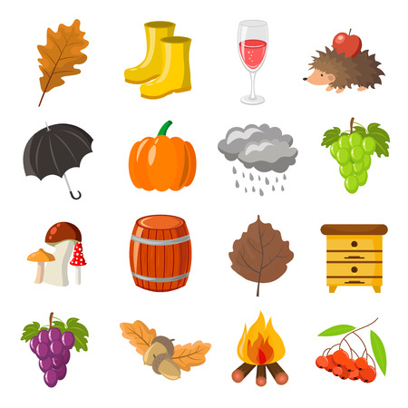 Autumn. Cartoon and flat style. Icon and objects set for design with background.