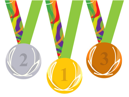 bronze medal: Gold medal icon. Silver medal icon. Bronze medal icon. Medal set. white background Illustration