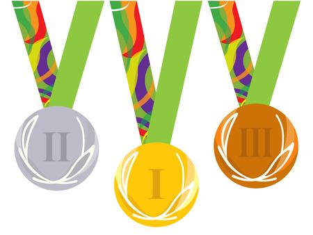 silver medal: Gold medal icon. Silver medal icon. Bronze medal icon. Medal set. white background Illustration