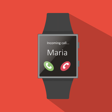 maria: Smart watch with calling Maria icon, flat concept with long shadow.Cartoon style. Vector illustration. Red background.