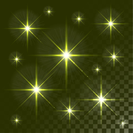 Set of Vector glowing light effect stars bursts on transparent background. . Abstract colorful wallpaper.