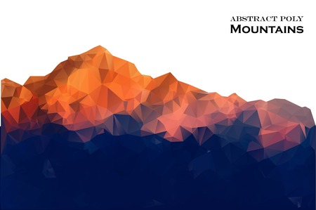Abstract background with mountains in polygonal style. Vector illustration. Design element. Vettoriali