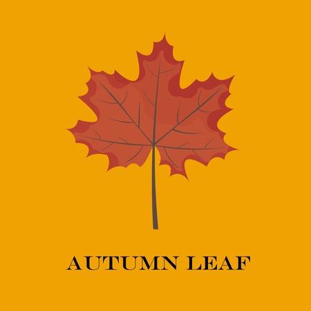 autumn leaves isolated on yellow background. simple cartoon flat style, vector illustration.