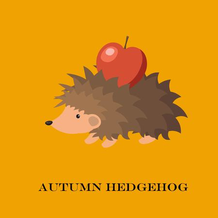 Vector illustration of cute hedgehog isolated on yellow background. Illustration