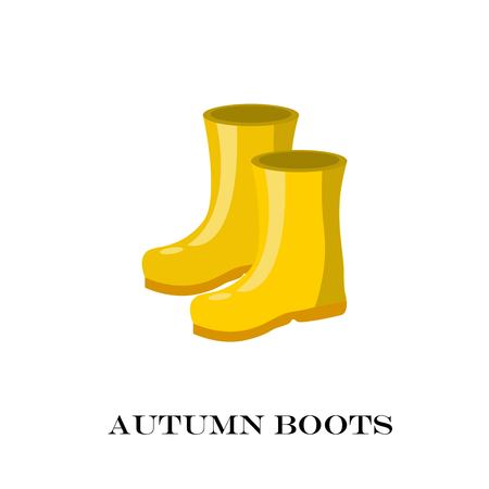 Pair of yellow rubber rain boots. Symbol garden wok or autumn and weather. Vector illustration.
