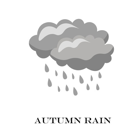 storm cloud: Blue Cloud Rain icon isolated on background. Modern simple cartoon forecast storm sign.