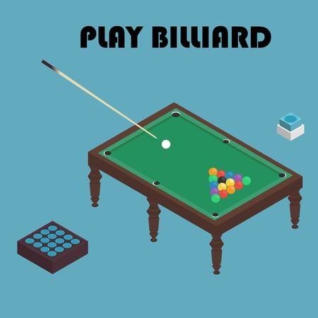 billiard isometric vector graphic illustration. Colorful background.
