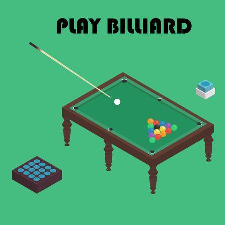 billiards rooms: billiard isometric vector graphic illustration. Colorful background.
