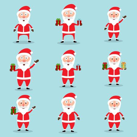 Collection of Christmas Santa Claus in flat and cartoon style. Abstract blue sky background. Vector illustration.