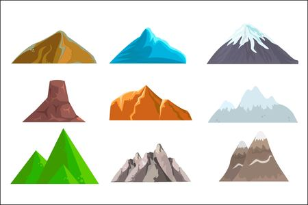 Cartoon hills and mountains set, vector isolated landscape elements for web or game design.  illustration. White background.