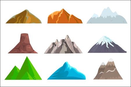 Cartoon hills and mountains set,  isolated landscape elements for web or game design.  illustration. Illustration