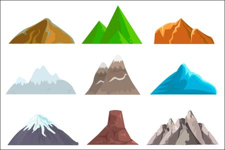 Cartoon hills and mountains set,  isolated landscape elements for web or game design.