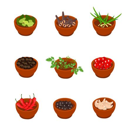 Isometric and cartoon style flavorful spices and condiments icon. Vector illustration. White background.