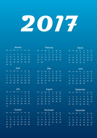 Calendar for 2017 year. Vector illustration. Abstract.