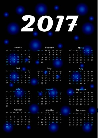 event planner: Calendar for 2017 year. Vector illustration. Abstract.