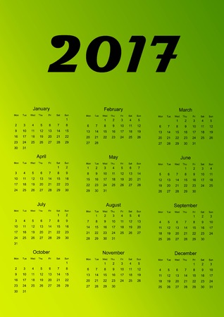 Calendar for 2017. Green gradient background. Vector illustration.