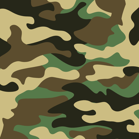 Camouflage pattern background. Classic clothing style masking camo repeat print. Green brown black olive colors forest texture. Design element. Vector illustration.  イラスト・ベクター素材