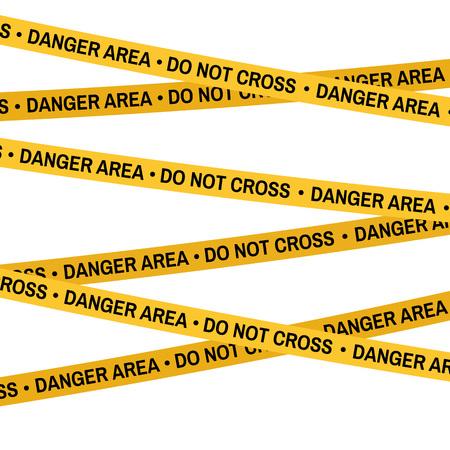 forensic: Crime scene yellow tape, police line Do Not Cross tape. Cartoon flat-style illustration