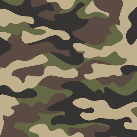 Camouflage pattern background. Classic clothing style masking camo repeat print. Green brown black olive colors forest texture. Design element. Vector illustration. Banco de Imagens
