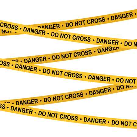 Crime scene yellow tape, police line Do Not Cross tape. Cartoon flat-style. Vector illustration. White background.