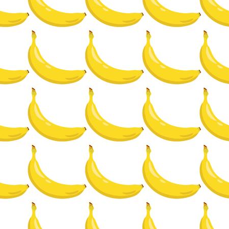Yellow banana seamless pattern. Sweet tropical fruit. White background. Vector illustration.