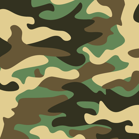 Camouflage pattern background. Classic clothing style masking camo repeat print. Green brown black olive colors forest texture. Design element. Vector illustration. Illustration