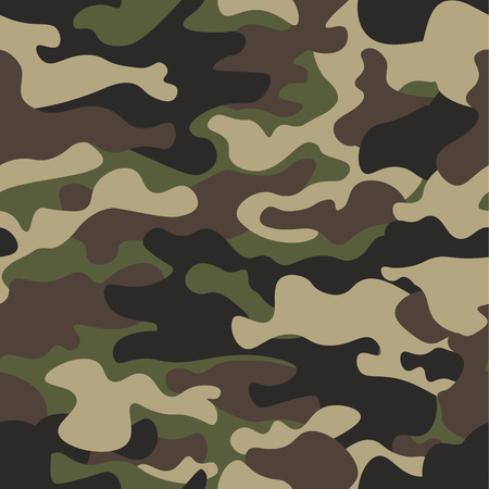 Camouflage seamless pattern background. Classic clothing style masking camo repeat print. Green brown black olive colors forest texture. Design element. Vector illustration. 免版税图像 - 81582464