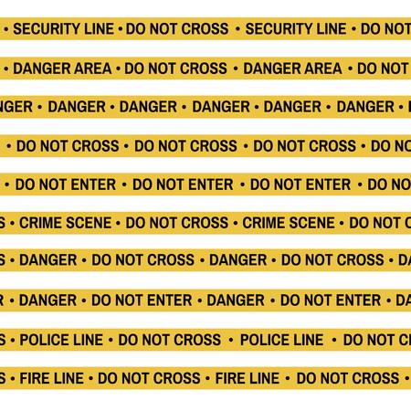 Set of Crime scene yellow tape, police line, danger, fire, Do Not Cross tape. Cartoon flat-style. Vector illustration. White background. Illustration