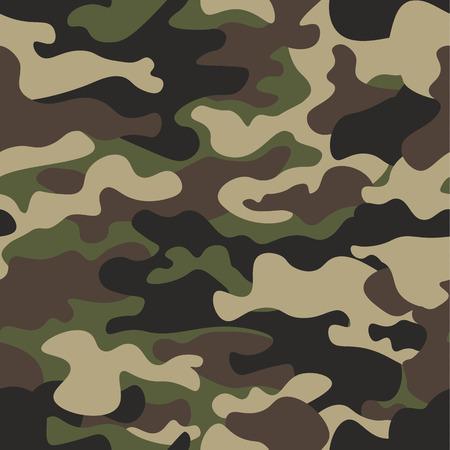 Camouflage bez szwu deseń tła. Klasyczny styl odzieży maskujący powtarzaj wydruk. Zielony brązowy czarny oliwy z liści lasu tekstury. Element projektu. Ilustracji wektorowych. Ilustracje wektorowe