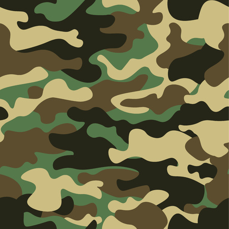 Camouflage seamless pattern background. Classic clothing style masking camo repeat print. Green brown black olive colors forest texture. Design element. Vector illustration.