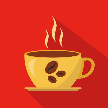 Cup of hot coffee cartoon flat icon. Brazil. Vector illustration. Иллюстрация