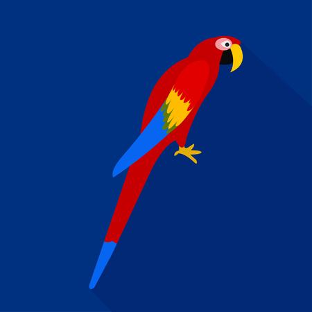 Colorful parrot cartoon flat icon. Brazil. Vector illustration.