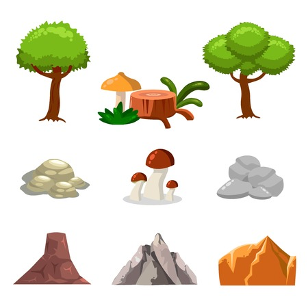 Cartoon nature landscape elements set, trees, stones and grass clip art, isolated on white background. Flat and cartoon style. Vector illustration.